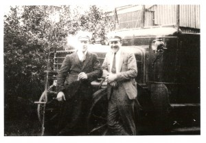 This is the father of Mrs Shirley Barker, Shown with his co-driver before a trip in about 1934