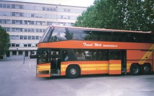 This was our very first Skylinner, purchased from Plaxton coach sales. Here it is in the south of france around 2001